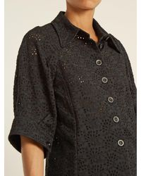 Chloé - Black Broderie-anglaise Point-collar Shirt - Lyst