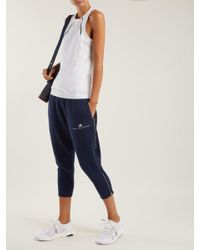 Adidas By Stella McCartney - Blue Essentials Cotton Blend Cropped Sweatpants - Lyst