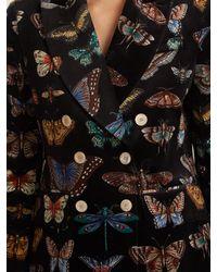 Gucci Black Peak-lapel Butterfly-print Stretch-cotton Jacket