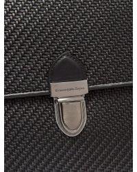 Ermenegildo Zegna Black Men's Pelle Tessuta Flat Briefcase Business Bag for men