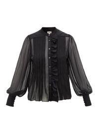 Blouse en mousseline de soie volantée Penny Temperley London en coloris Black