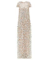 Robe de soirée en tulle à sequins Carolina Herrera en coloris Metallic