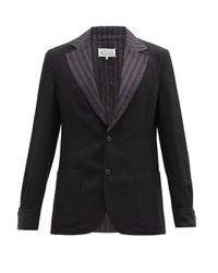 メンズ Maison Margiela ストライプラペル リネンブレンドジャケット Black