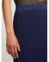 Missoni Blue Pleated Knit Midi Skirt