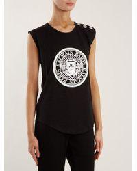 Balmain Black Coin-print Cotton-jersey Tank Top