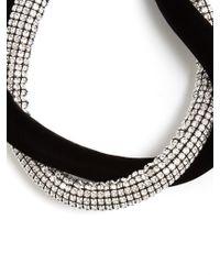 Saint Laurent - Black Twisted Crystal-embellished And Velvet Necklace - Lyst