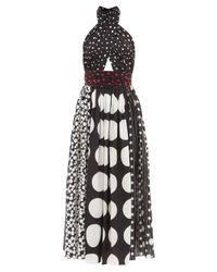 Dolce & Gabbana ポルカドット ホルターネック シルククレープドレス Black
