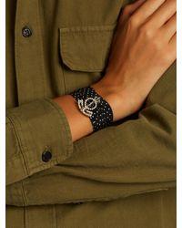 Saint Laurent | Black Polka-dot Silk Bracelet | Lyst