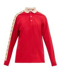 メンズ Gucci ロゴストライプ コットンピケ ポロシャツ Red