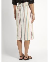 Ace & Jig White Ramona Embroidered-stripe Cotton Skirt