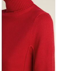Chloé Red Cashmere Roll Neck Sweater