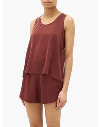 Pyjama en satin de soie brossé Lunya en coloris Red