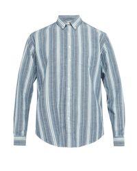 メンズ Schnayderman's ストライプコットン オックスフォードシャツ Blue