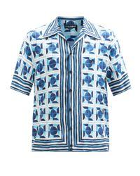 メンズ Dolce & Gabbana マジョリカ シルクツイル ショートスリーブシャツ Blue
