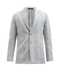 メンズ Paul Smith フェードチェック ウールブレンド シングルスーツジャケット Gray