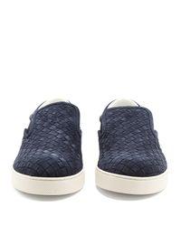 Bottega Veneta Blue Dodger Intrecciato Slip-on Suede Sneakers for men