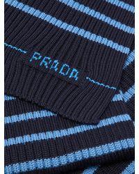 Prada Blue Stripe-intarsia Wool-blend Scarf for men