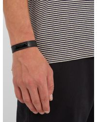 Saint Laurent - Black Logo-engraved Leather Bracelet for Men - Lyst