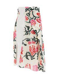 Marni ベルテッド フローラル ラップスカート Multicolor