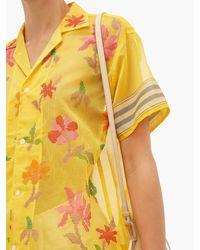 Chemise en coton mélangé à broderies florales Bode en coloris Yellow