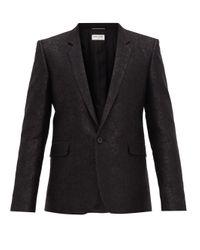 メンズ Saint Laurent フローラルブロケード ウールシルクシングルジャケット Black