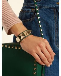 Valentino - Green Rockstud Large Leather Bracelet - Lyst