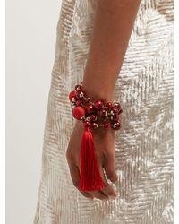 Bracelet enroulé à perles et houppes Colonia Rosantica By Michela Panero en coloris Red