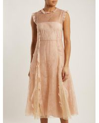 RED Valentino Natural Ruffle-trimmed Lace Midi Dress