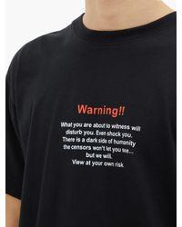 T-shirt en jersey à imprimé Warning Vetements pour homme en coloris Black