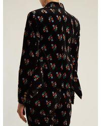 Sonia Rykiel - Black Floral-print Single-breasted Corduroy Jacket - Lyst