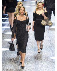 Dolce & Gabbana Black Off-the-shoulder Polka Dot-print Silk-blend Dress
