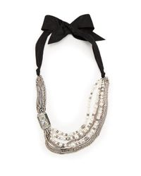 Lanvin White Bow And Faux-pearl Embellished Necklace