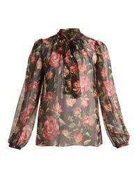 Dolce & Gabbana Multicolor Rose-print Silk-chiffon Blouse