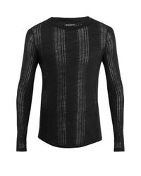 Balmain Black Distressed Linen Sweater for men