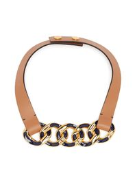 Marni Blue Chain Link Leather Necklace