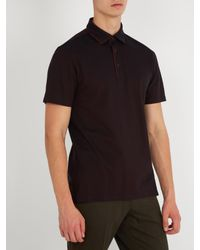 Ermenegildo Zegna - Black Piped-trim Cotton-piqué Polo Shirt for Men - Lyst