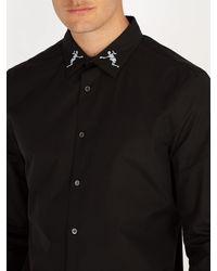 Alexander McQueen Black Dancing Skeleton Collar Shirt for men