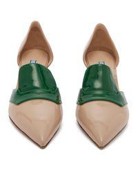 Escarpins en cuir verni D'Orsay Prada en coloris Green