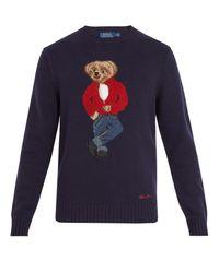 Polo Ralph Lauren | Blue Teddy Bear-intarsia Wool Sweater for Men | Lyst