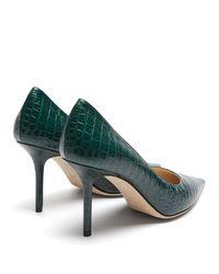 Escarpins en cuir effet crocodile embossé Love 85 Jimmy Choo en coloris Green