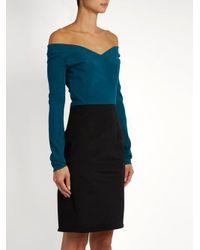 Emilio de la Morena Black Olena Off-the-shoulder Silk-blend Dress