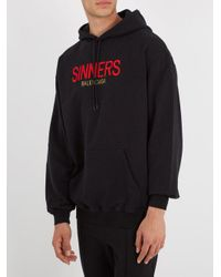 Balenciaga Black Sinners-embroidered Hooded Cotton Sweatshirt for men