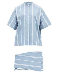 Pyjama en popeline de coton rayée à col mao Jil Sander en coloris Blue