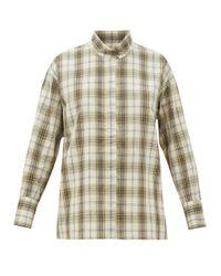 Chimala スタンドカラー チェック コットンブレンドシャツ Multicolor
