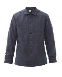 メンズ Oliver Spencer エルタム オーガニックコットン ヘリンボーンツイルシャツ Blue