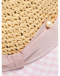 Federica Moretti Pink Dia Gingham Brim Straw Hat