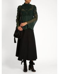 Chloé - Green Floral-Smocked Silk-Crepe Blouse - Lyst