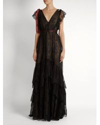 Erdem - Black Perry Embellished Floral-embroidered Tulle Gown - Lyst