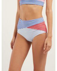 Culotte De Bikini En Patchwork De Carreaux Vichy Sagaponack Marysia Swim en coloris Blue