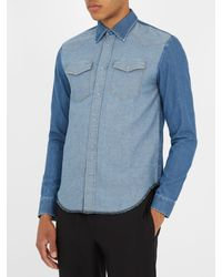 Maison Margiela | Blue Contrast-panel Denim Shirt for Men | Lyst